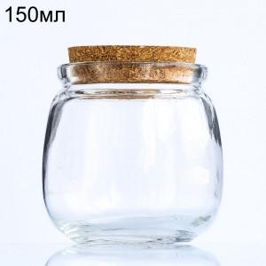 Стеклянная мини-бутылочка-бочонок, 150 мл (арт.36)