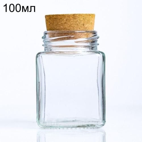 Стеклянная  бутылочка-кубик большой с пробкой, 100мл (арт.37)