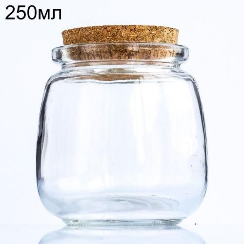 Стеклянная баночка бочонок с пробкой, 250мл (арт.86)