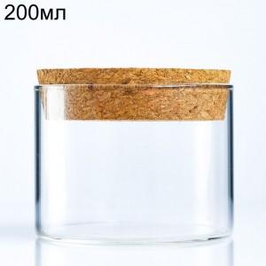 Стеклянный широкий цилиндр с пробкой (80x60мм), 200мл (арт.90)