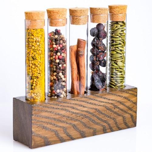 Набор для специй в деревянной подставке Ясень-5 (арт.5005)